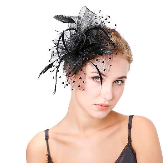 Amazon.com  Women s Tea Party Hat Wedding Hat Fascinate Hats Pillbox ... f9f65862610