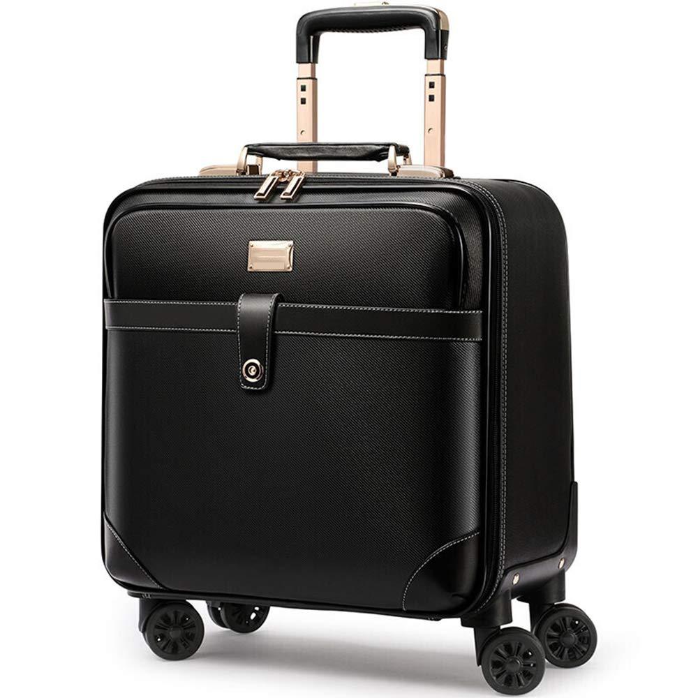 荷物スーツケース、20インチ合成皮革トラベルトロリーケース、360°ユニバーサルロータリーミュートホイール、TAS税関セキュリティパスワードビジネススーツケース,Black B07T1LHP6C Black