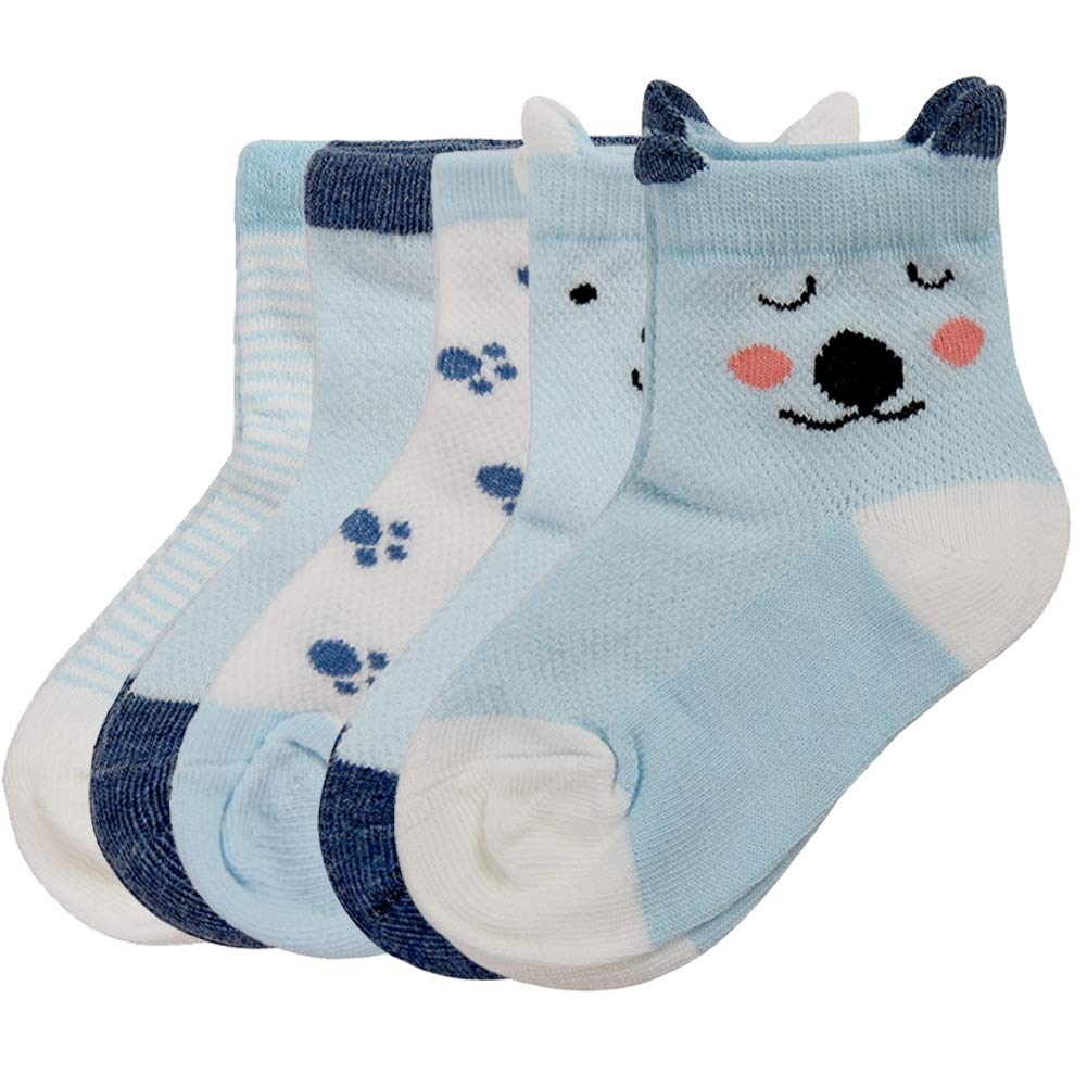LANYAN 5 Pairs Unisex Baby Girls Socks,Animal Cute Cotton Socks Teens Socks Kids