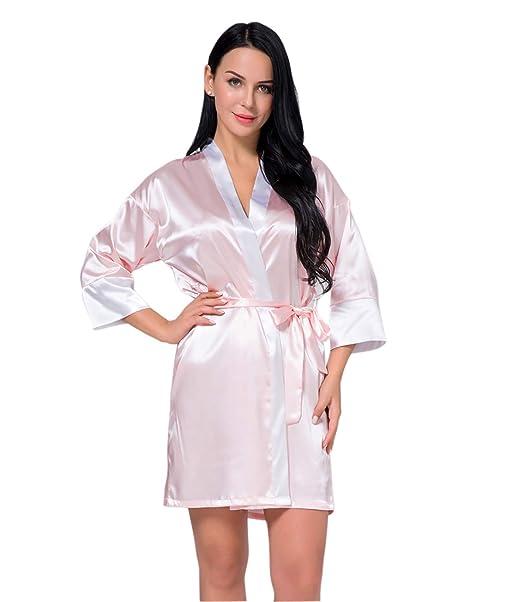 EDAHB®Bata Corta de Kimono de Las Mujeres Bata de Seda Satén Suave Ropa de Dormir: Amazon.es: Ropa y accesorios