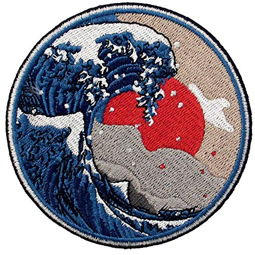 Great Wave Off Kanagawa Patch Embroidered Applique Badge Iron On Sew On Emblem