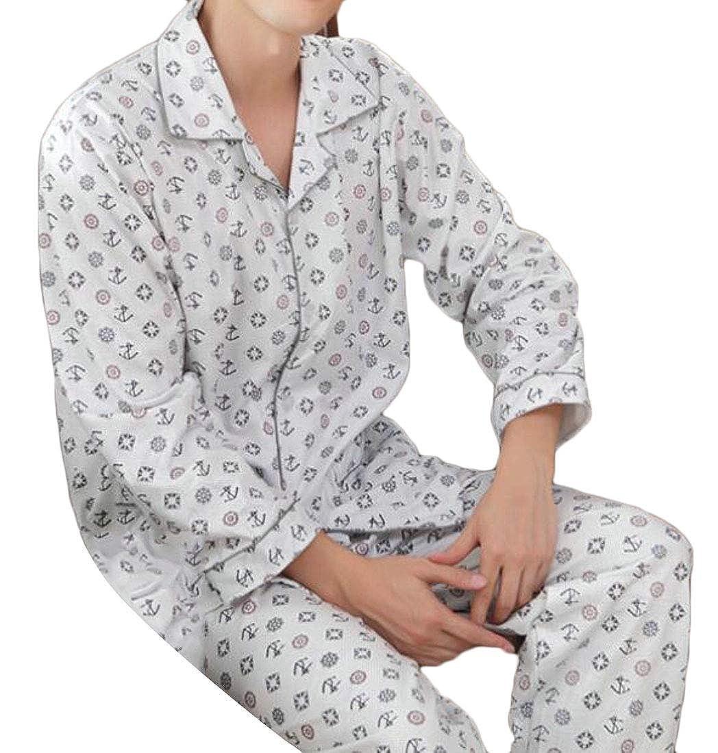 XTX Mens Hipster Floral Lapel Long Sleeve Satin Pajama Set Sleepwear