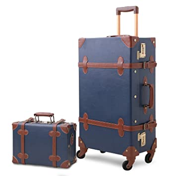 5f743bf2dec0 Amazon.com   Mosslanda Vintage Luggage Set PU Trunk Rolling Carry On ...