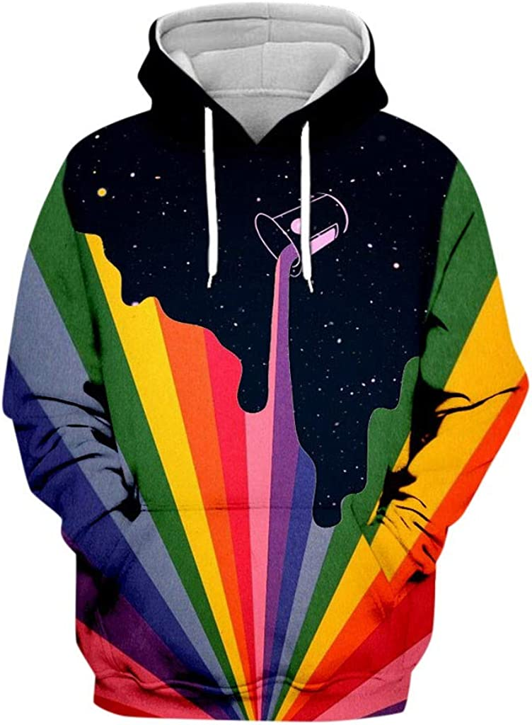 Airpow Mens 3D Printed Hooded Sweatshirt Party Rainbow Long Sleeve Hoodie Blouse Top Pullover