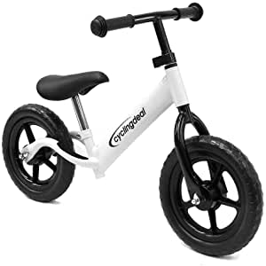 CyclingDeal Kids Sports Child Push Balance Glider Bike Walking Bicycle for Boys & Girls 12 Inch for 18 Month 2 3 4 5 Years Old Toddlers with Footrest Aluminum Alloy Rim Rubber tire White Blue Black