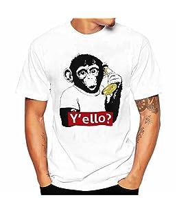 Maglietta Uomo Classic,Intimo Uomo,Kword Uomini Stampa Tee Shirt Manica Corta Camicia T Shirt (Bianco, M)