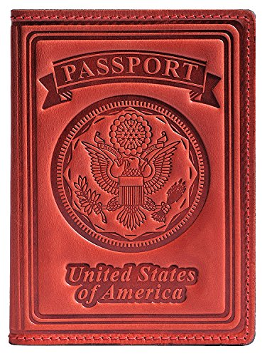 Villini 100% Leather US Passport Holder Cover Case For Men Women In 9 Colors (Red - Shopping Price Online Minimum
