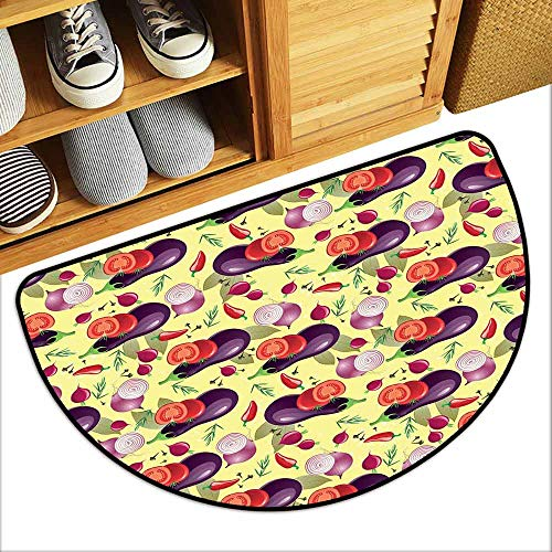 YOFUHOME Eggplant Outdoor Door mat Eggplant Tomato Relish Onion Going Green Eating Organic Tasty Preserve Nature Anti-Fading W29 x L17 Multicolor