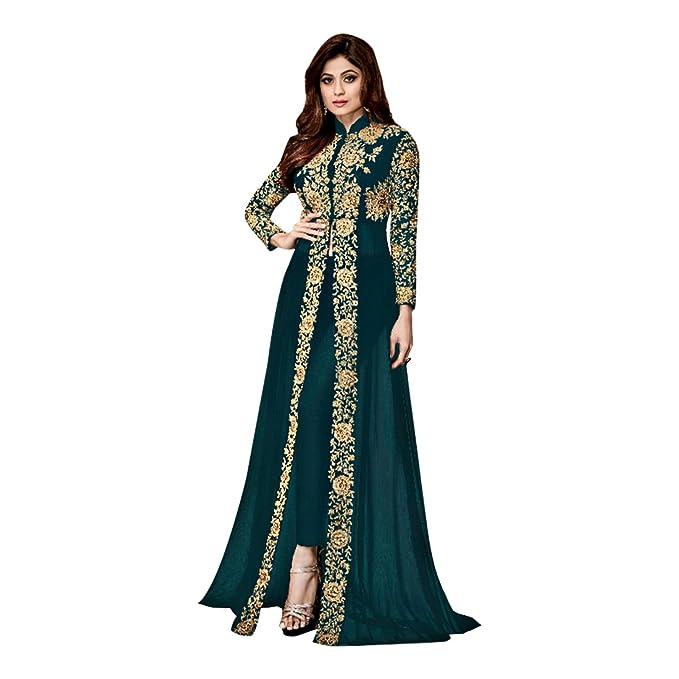 Green Traje anarakali de Bollywood Salwar Kameez Ropa de Fiesta Mujer Kurti Pakistaní Ropa Larga diseñador