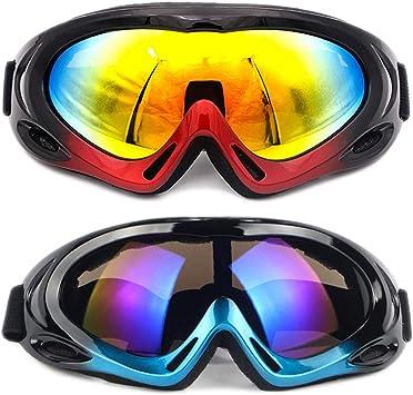SENDILI 2-Pack Gafas de Esquí - Gafas de Esquiar para Unisexo, Snowboard Resistentes al Viento, Lentes Anti-Reflejo(Negro-Azul + Negro-Rojo): Amazon.es: Deportes y aire libre