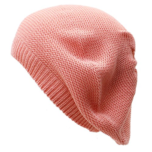 AN Peach Beret Beanie Hat for Women Fashion Lightweight Knit Solid Color (Solid Beanie Womens)