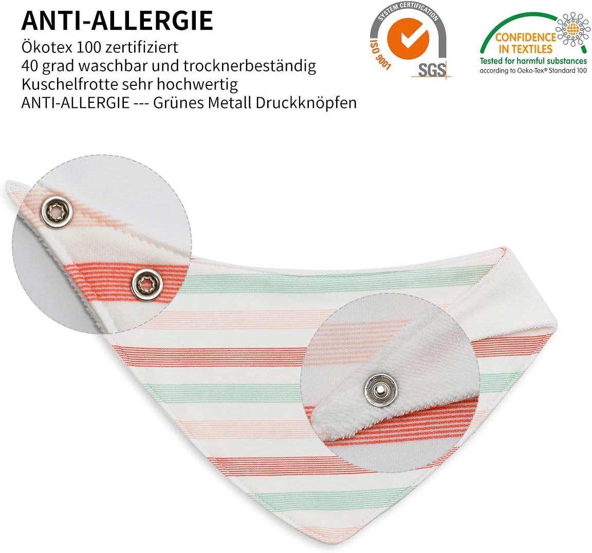 6 baberos triangulares de beb/é para ni/ña de algod/ón en diferentes colores con motivos dulces doble capa absorbentes Mehrfarbig01