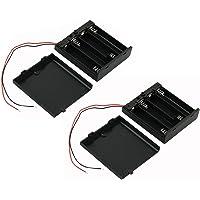 Ogrmar On/Off Switch 4 x 1.5V AA Battery Case Holder Leads Black w Cap 2Pcs