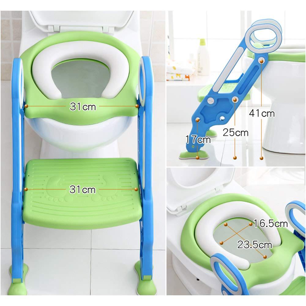 Funhoo Baby Toilettensitz mit Treppe Kinder Toilettentrainer mit Leiter Toilette WC Training Rutschfester Faltbarer Tritthocker Kindersitz f/ür Jungen und M/ädchen blau /& gr/ün