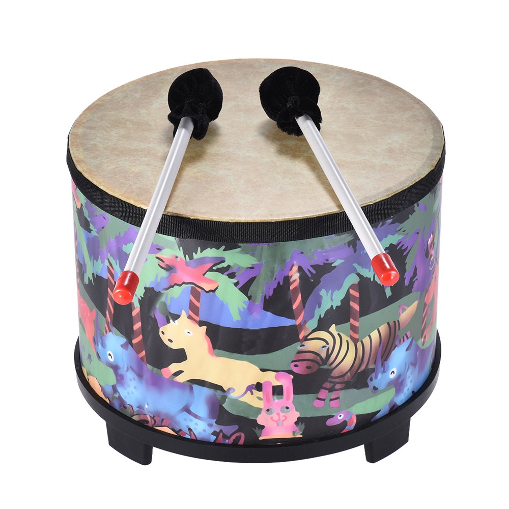 Festnight 10 Inch Wooden Floor Drum Gathering Club Carnival Percussion Instrument with 2 Mallets for Kids Children by Festnight