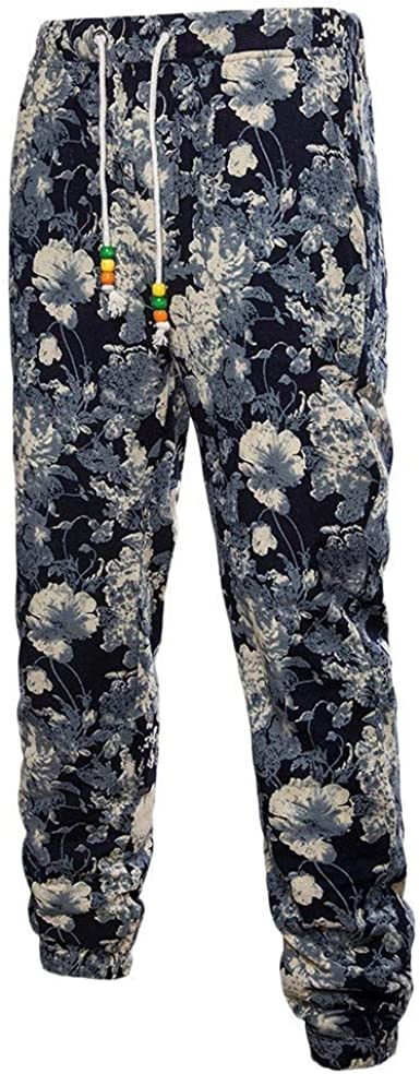 Saoye Fashion Pantalones Informales De Lino Transpirable Para Hombres Pantalones Estampados De Ropa Estilo Etnico Extragrandes Para Adolescentes Amazon Es Ropa Y Accesorios