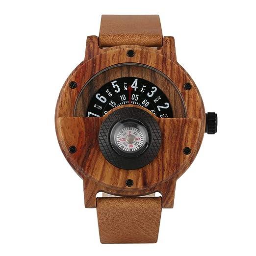 Reloj de Madera para Hombre, diseño de Negocios Militares, Relojes de Madera marrón, Relojes de Lujo de Madera para niño - dgsdrhs: Amazon.es: Relojes