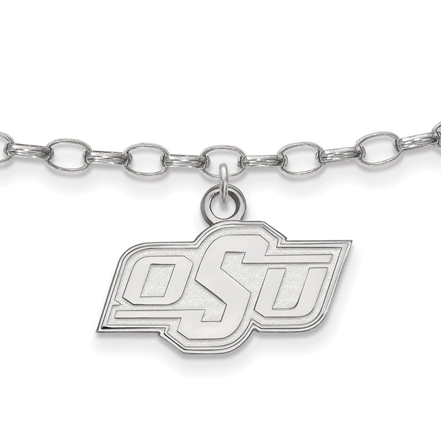 Solid 925 Sterling Silver Oklahoma State University Anklet - with Secure Lobster Lock Clasp (18mm)