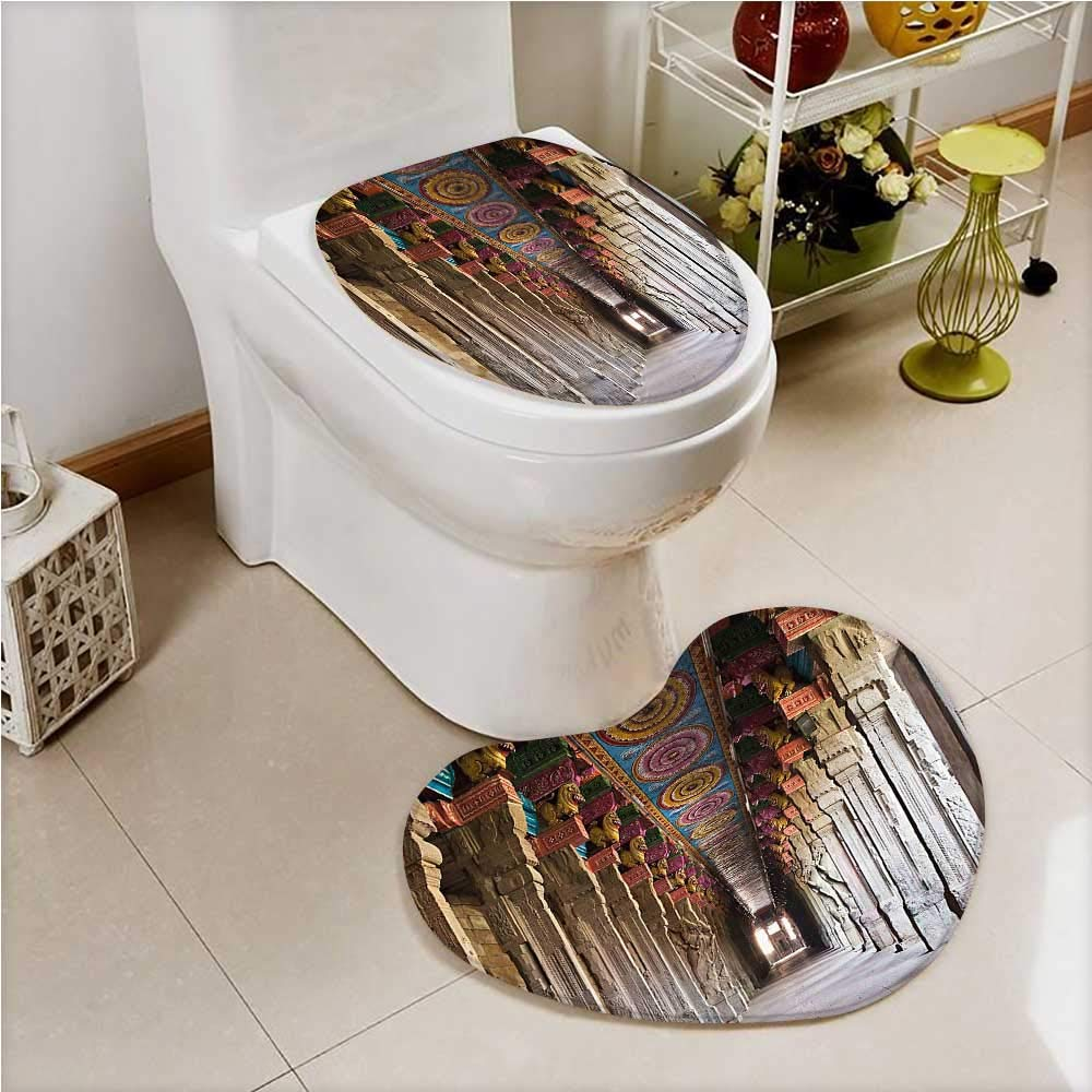 aolankaili 2 Piece Toilet lid cover mat set Spiritual Theme Inside of Meenakshi Temple in South India Light Grey Soft Shaggy Non Slip