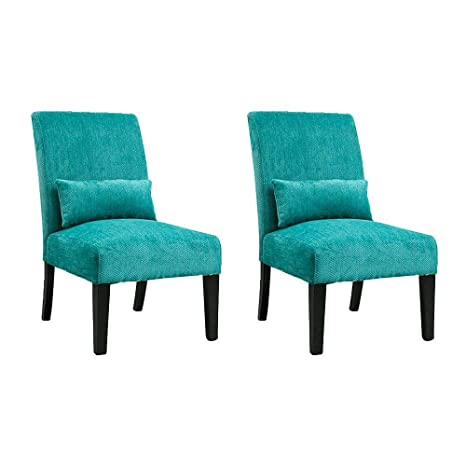Fabulous Homesailing Set Of 2 Living Room Accent Occasional Armless Side Chairs Teal Beside Sofa Bedroom High Back Soft Fabric Upholstered Leisure Chair For Inzonedesignstudio Interior Chair Design Inzonedesignstudiocom