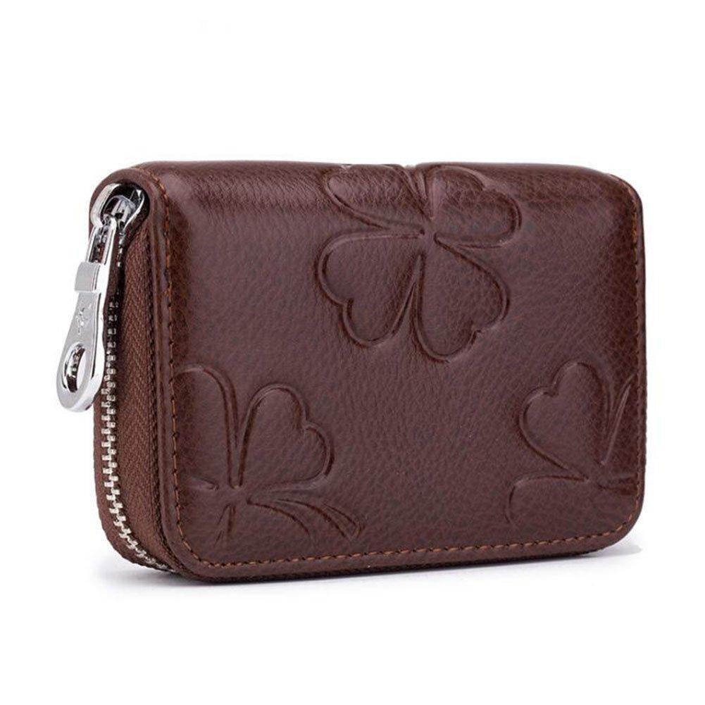 DcSpring RFID Schutz Kreditkartenhülle Damen Echtes Leder Kreditkartenetui Mini mit Reißverschluss Geldbörse Kleine Portemonnaie (Dunkelbraun)