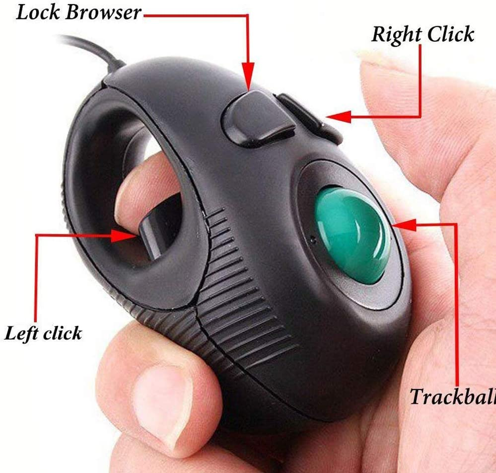 Value-5-Star Thumb Controlled Handheld Wired Trackball Mice Mouse