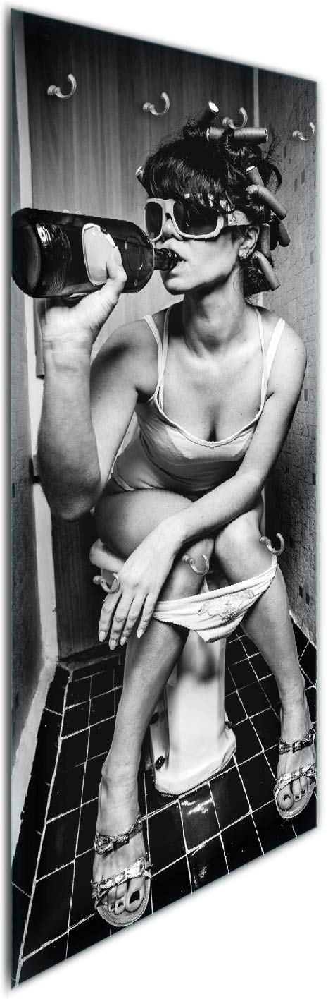 Wallario Acrylglasbild Kloparty Kloparty Kloparty - Sexy Frau auf Toilette mit Weinflasche - 60 x 90 cm in Premium-Qualität  Brillante Farben, freischwebende Optik d39b27