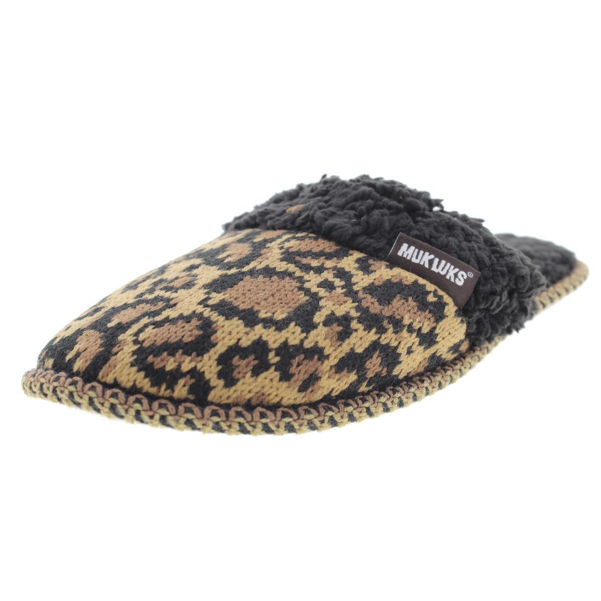MUK LUKS Women's Fairisle Knit Scuff-Leopard Medium/7-8 M US