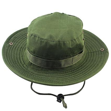5b100ad2efcf3 bjduck99 Boonie Hat Fishing Hunting Military Wide Brim Bush Hat Bucket Cap  - Army Green