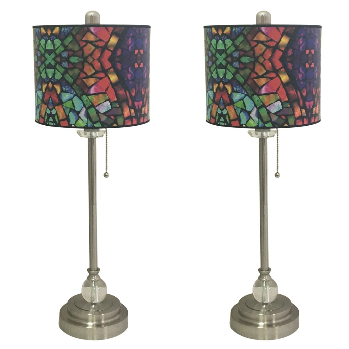 Royal Designs 28'' Crystal and Brushed Nickel Buffet Lamp with Mosaic Stained Glass Design Hardback Lamp Shade, Set of 2 by Royal Designs, Inc