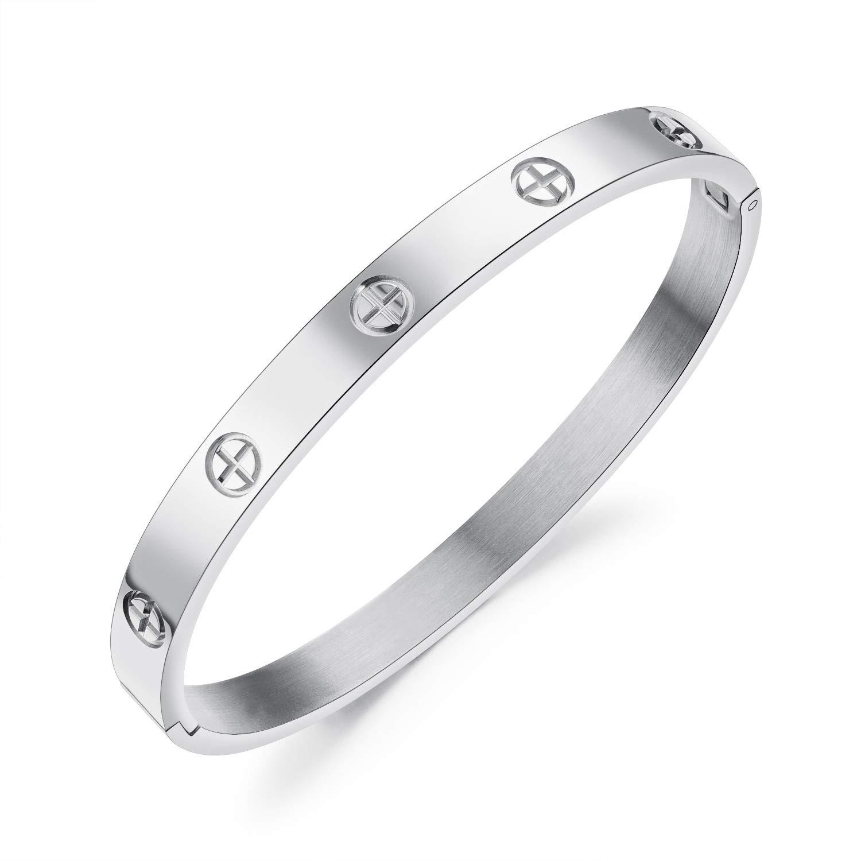 NUTLCE-SZ NUTLCE Fastness Titanium Steel Bangle Bracelets for Women//Men Non-Fading Couples Bracelets Love Bracelet for Girls Boys Valentines Wedding Women Type 1