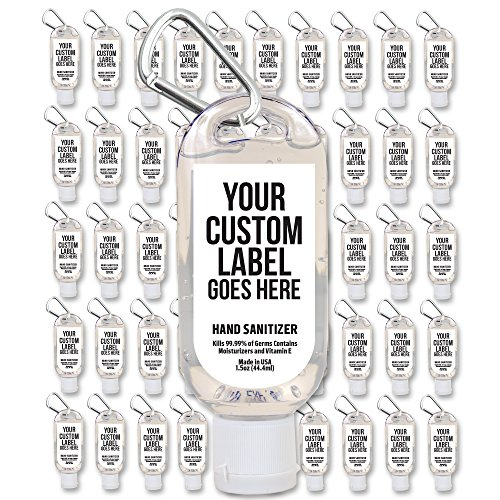 Party Favors Personalized Label Premium Hand Sanitizer with Clip 50-Piece Pack]()