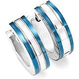 Blue Huggie Hoop Earrings - Stainless Steel