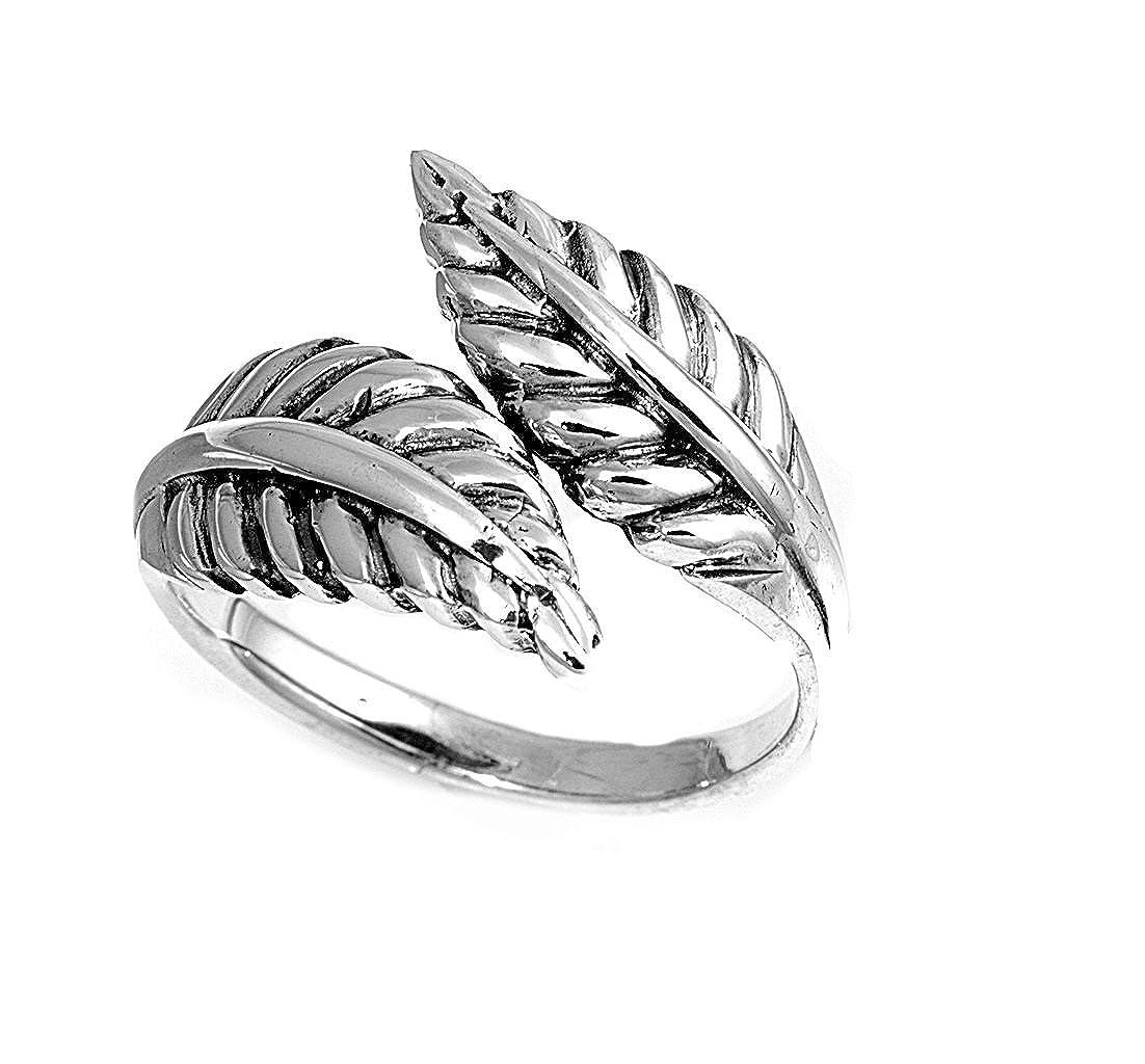 Princess Kylie 925 Sterling Silver Dual Leaves Ring