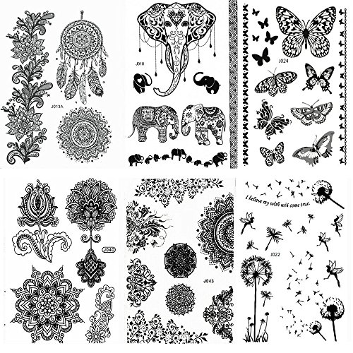 Pinkiou Henna Tattoo Stickers Lace Mehndi Temporary Tattoos for Maverick Women Teens Girls Metallic Tattooing Pack of 6 (Tribal Print Tattoos)