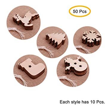 10pcs Wooden Christmas Tree Tags Unfinished Wood Gift Tags Ornaments Decor
