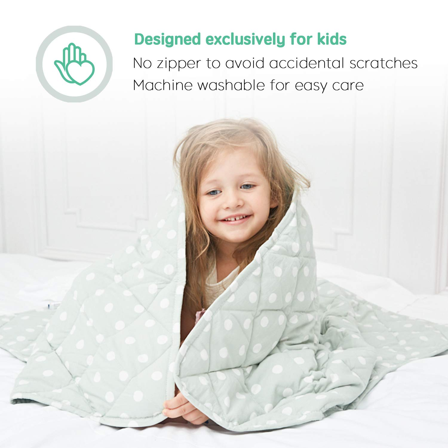 Machine Washable for Easy Care Sky Blue Toddler Heavy Blanket with Glass Beads for Improved Sleep 5 lbs, 36x48 ULTIFIT Weighted Blanket for Kids 100/% Breathable Natural Cotton
