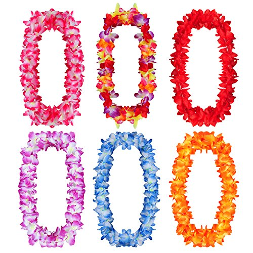 YUEAON 6 Pack Large Size Hawaiian Leis Flowers Necklace Luau Tropical Beach Theme Party favros Supplies Decorations,6 Colors -