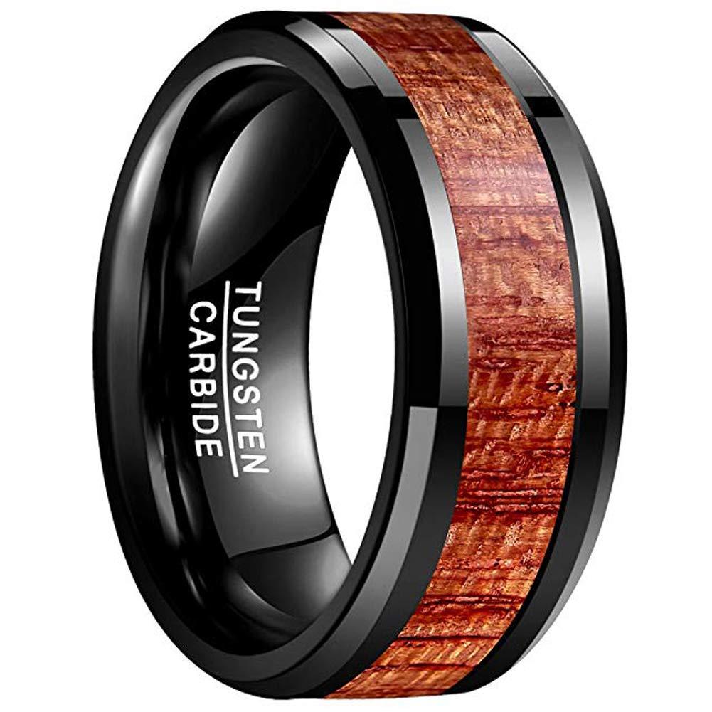 VAKKI Mens 10mm Koa Wood Black Tungsten Carbide Wedding Ring Band Polished Beveled Edges Comfort Fit Size 7 to 12