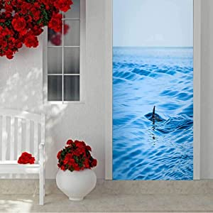 3D Self-Adhesive Door Wrap Murals Wall Stickers, A Shark fin in The Middle of The vast Ocean Waters, Home Decoration Self-Adhesive Removable Art Door Decals W35.4 x L78.7 Inch