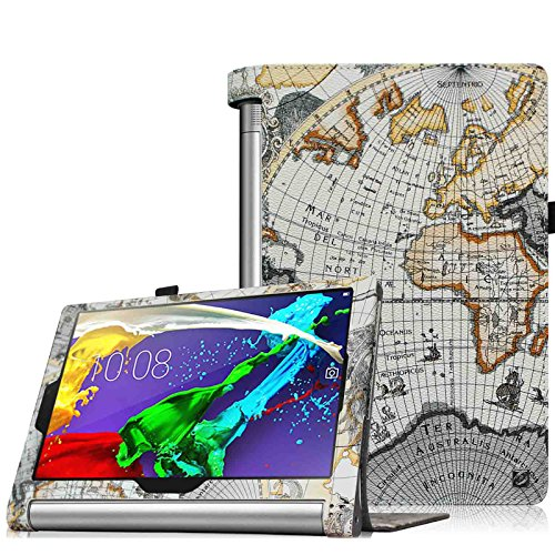 Fintie Lenovo Yoga Tablet 2 (10,1 Zoll FHD IPS) Hülle Case Cover Tasche Etui - Folio Kunstleder Schutzhülle mit Auto Sleep / Wake (geeignet für Lenovo Yoga Tablet 2-10 25,7 cm Tablet (Android und Windows Version), Landkarte Design