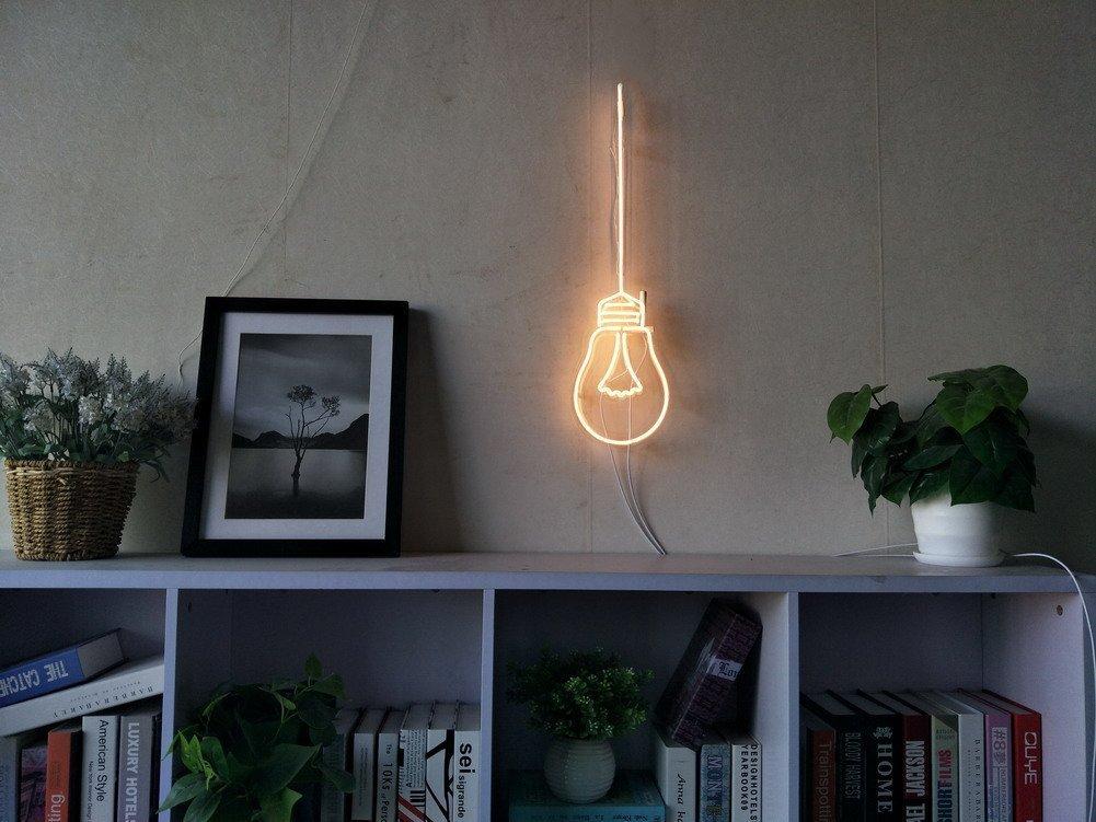 Edison Tungsten Filament Bulb Real Glass Neon Sign For Bedroom Garage Bar Man Cave Room Home Decor Handmade Artwork Visual Art Dimmable Wall Lighting Includes Dimmer Artist Scott Ryder