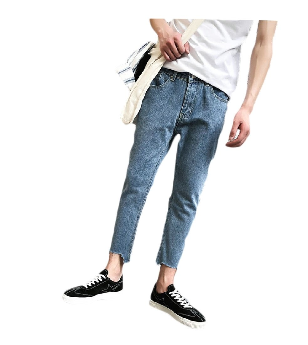 Yingshif Men Washed Pure Color Blazer Baggy Casual Straight Leg Ankle Jeans Blue 30