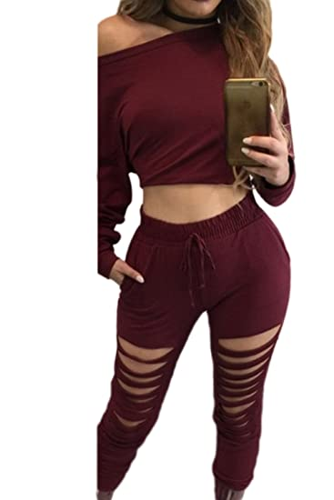 732513e363b Women Casual Suits Pullover Hoodies Sweatshirts Crop Tops + Ripped Cut Out  Pants Red L