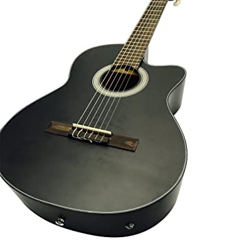 Coban Guitars - Guitarra acústica clásica sólo con EQ (negro mate ...