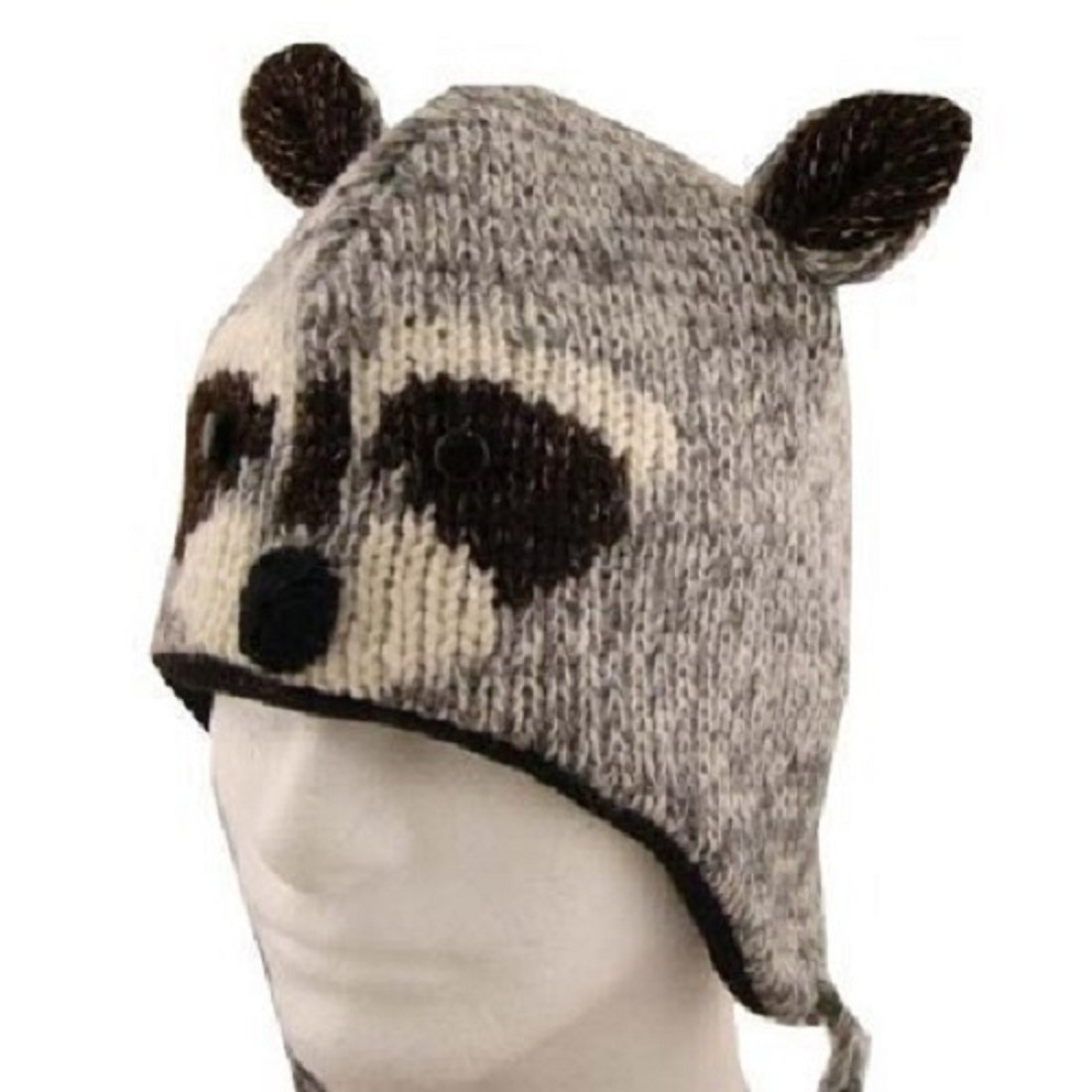 Amazon.com  Kid Child Wool RACCOON Beanie Hat with Flap Ears Fleece Lined  One Size Brown  Clothing 68fa5781b17