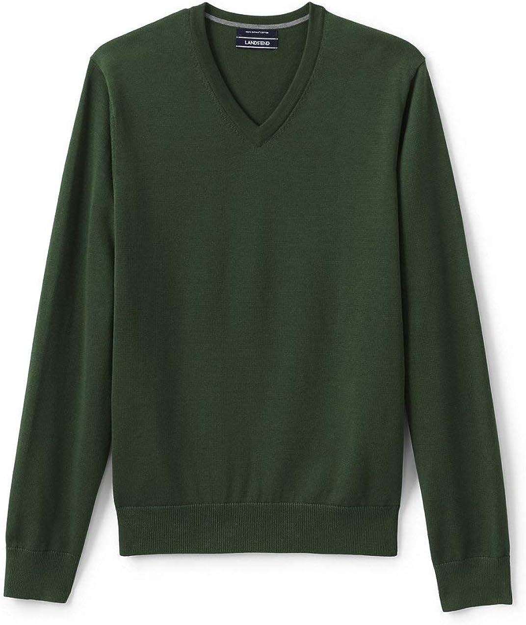 Lands End Mens Classic Fit Fine Gauge Supima Cotton V-Neck Sweater