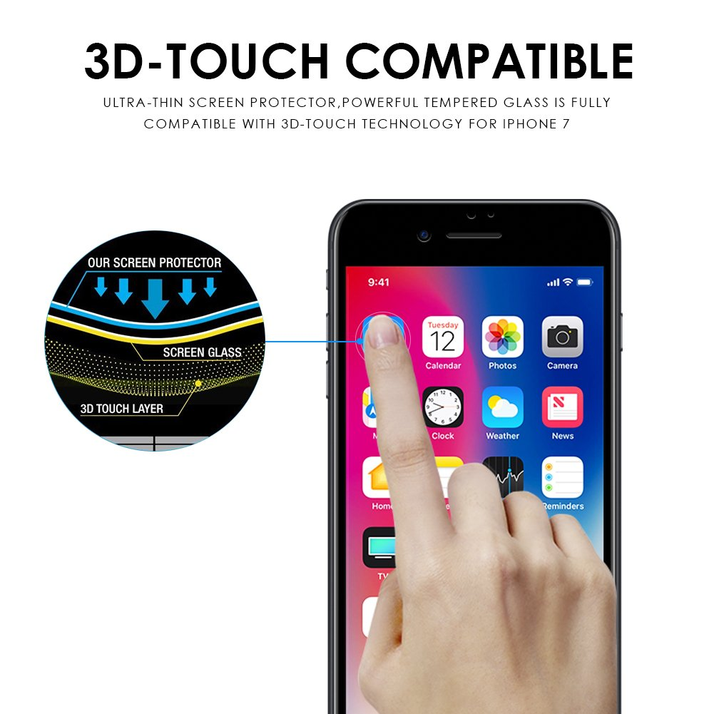 Tembin Full Coverage Screen Film 3D Nanometer High Definition Tempered Glass Screen Protector for iPhone 7 Black (2 Pack)
