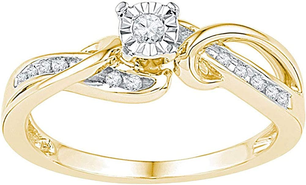 IdealCutGems-JSS 10kt Yellow Gold Engagement Ring for Her Round Solitaire Wedding 1//8 cttw Diamond