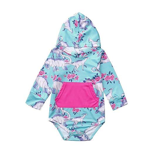 788ef35aa2f9 Amazon.com  KONFA Toddler Baby Girls Dinosaurs Pocket Hooded Rompers ...